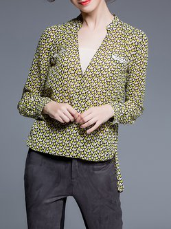 Yellow Plunging Neck Geometric Long Sleeve Printed Blouse