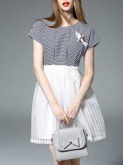 Casual Short Sleeve Crew Neck Paneled Stripes Mini Dress