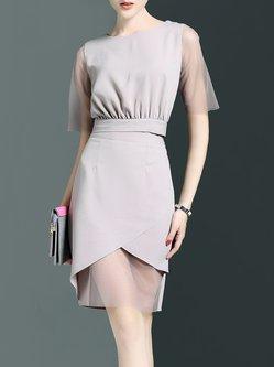 Zwykły Pracuj z krótkim rękawem Sukienka Midi panelami Poliester