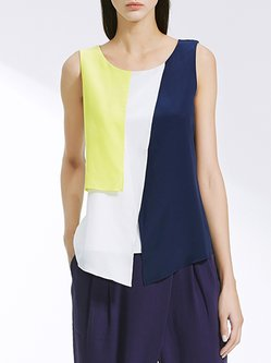 Multicolor Sleeveless Color-block Silk Blouse
