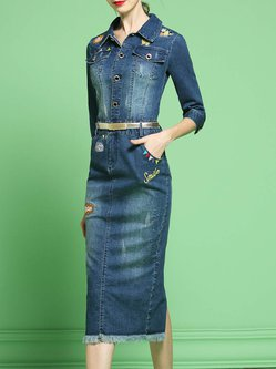 Embroidered Shirt Collar Denim Statement Midi Dress