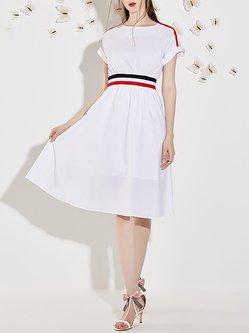 White Crew Neck Polyester Casual Color-block Midi Skirt