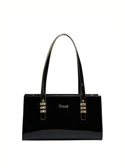 Cowhide Leather Medium Simple Zipper Shoulder Bag