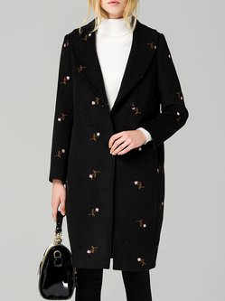 Purple Embroidered Long Sleeve Coat