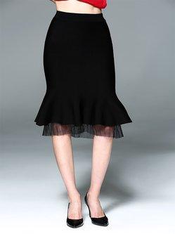 Black Paneled Ruffled Cocktail Midi Skirt