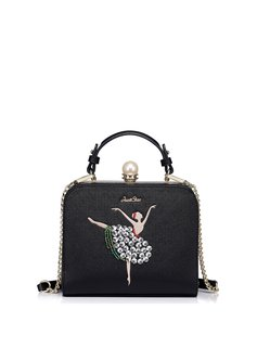 Black Sweet Beads Embroideried PU Clasp Lock Crossbody Bag