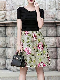 Multicolor Elegant A-line Floral Embroidered Midi Dress