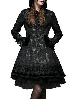 Black A-line Printed Hoodie Long Sleeve Midi Dress  With Belt