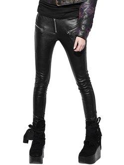 Black Washed PU Street Leather Pants