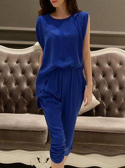 Short Sleeve Casual Crew Neck Plain Jumpsuit