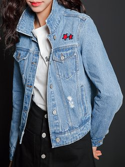 Denim Long Sleeve H-line Shirt Collar Casual Denim Cropped Jacket