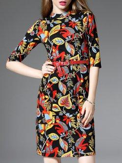 Red Floral-print Half Sleeve Floral Midi Dress