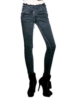 Black Street Denim Washed Straight Leg Pants