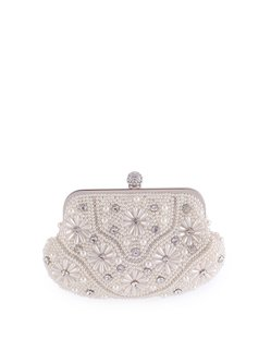 White Clasp Lock Evening Beaded Clutch