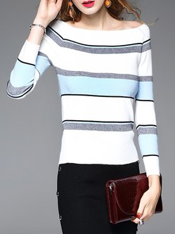 Light Blue H-line Casual Printed Stripes Long Sleeved Top