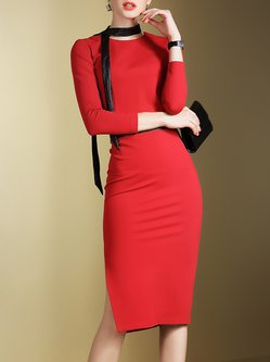 Red Two Piece PU Paneled Plain Sexy Bodycon Midi Dress