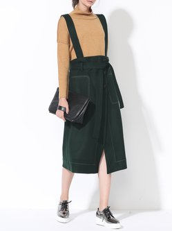 Green Tweed A-line Slit Statement Overall Midi Skirt