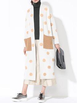 Multicolor Casual Polyester Pockets Polka Dots Coat