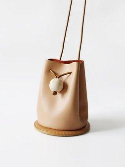 Camel Casual Cowhide Leather Drawstring Bucket Shoulder Bag