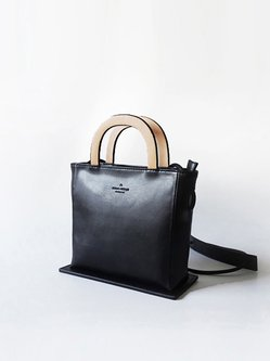 Black Small Casual Cowhide Leather Satchel