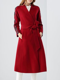 Casual A-line Long Sleeve Floral Coat with Belt