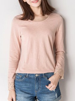 Pink Cotton Plain Casual Long Sleeved Top
