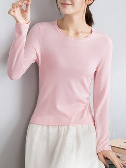 Casual Crew Neck Viscose Knitted Sweater