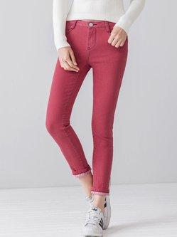 Pockets Casual Denim Plain Jeans