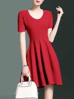 Simple Short Sleeve A-line Plain Crew Neck Mini Dress