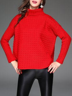 Red Turtleneck Knitted Acrylic Casual Sweater