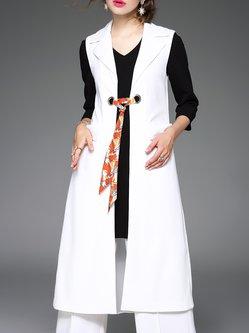 White Lapel Plain Simple Paneled Vest