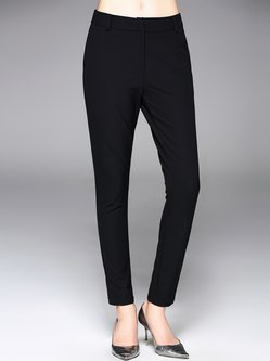 Black Simple Plain Straight Leg Pants
