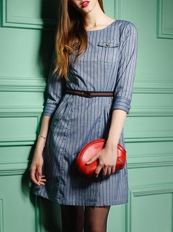 Casual 3/4 Sleeve Buttoned Bateau/boat Neck Stripes Midi Dress With Belt