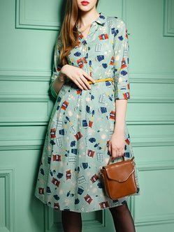 Mint Printed Casual Shirt Collar A-line Midi Dress with Belt