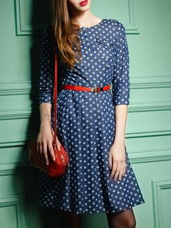 Blue Cotton Shirt Collar Polka Dots Casual Midi Dress With Belt