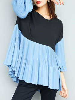 Blue Crew Neck Polyester Plain Simple Blouse