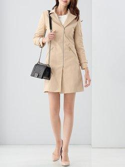 Khaki Zipper Cotton-blend Plain Casual Trench Coat