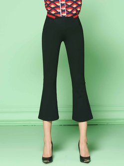 Black Casual Stretchy Plain Polyester Pockets Flared Pants