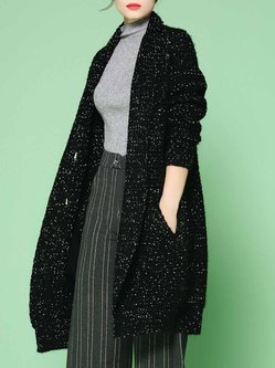 Black Crocheted Polka Dots Buttoned Long Sleeve Casual Coat