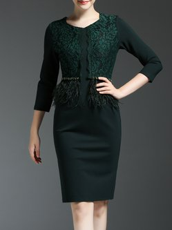 Dark Green Guipure Lace Knitted 3/4 Sleeve Midi Dress