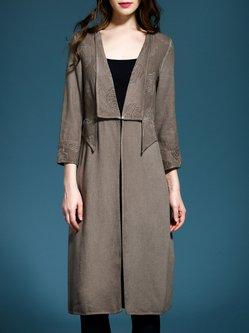 Khaki 3/4 Sleeve V Neck Floral Jacquard Shift Coat