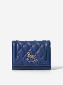 Blue Cowhide Leather Mini Casual Wallet