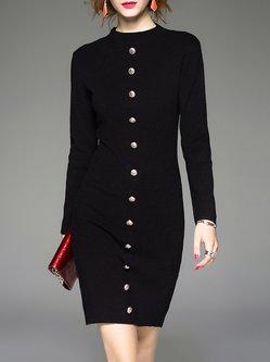 Long Sleeve Simple Buttoned Plain Mini Dress