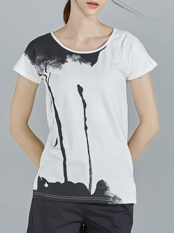 White Short Sleeve Abstract Printed T-Shirt