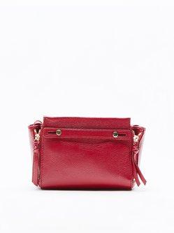 Crimson Casual Cowhide Leather Mini Satchel