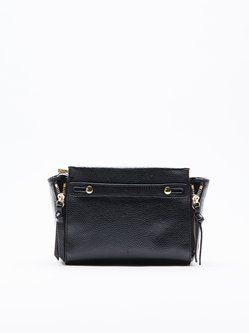 Black Casual Mini Cowhide Leather Satchel