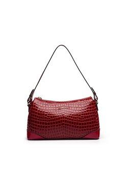 Red Zipper Cowhide Leather Shoulder Bag