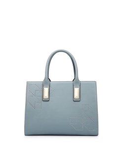 Simple Medium Cowhide Leather Zipper Top Handle