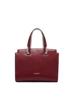Wine Red Cowhide Leather Zipper Top Handle