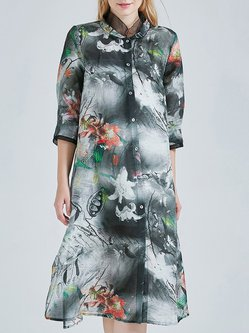 Slit Vintage A-line 3/4 Sleeve Printed Silk Linen Midi Dress